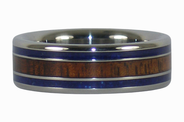 Lapis Lazuli and Dark Koa Titanium Ring