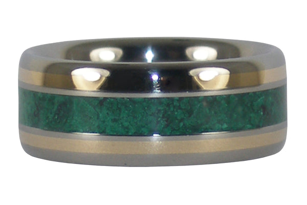Malachite and Gold Titanium Ring
