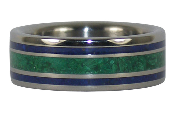 Malachite Titanium Ring with Lapis Inlay
