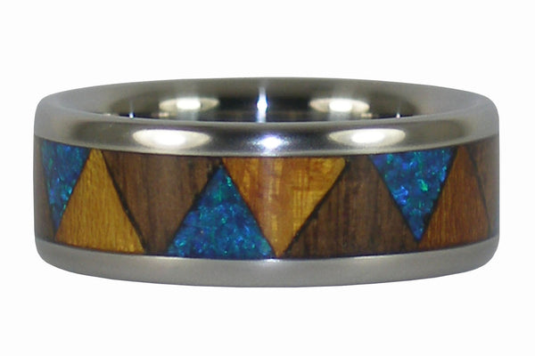 Blue Lab Opal Tribal Titanium Ring with Osage and Walnut Wood
