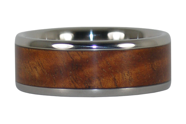 Tiger Koa Wood Titanium Ring
