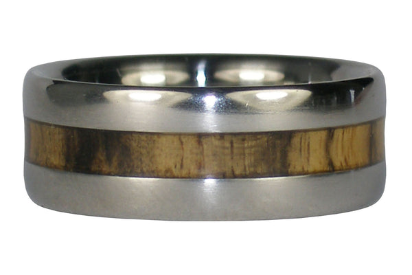 Black and White Ebony Titanium Ring Band