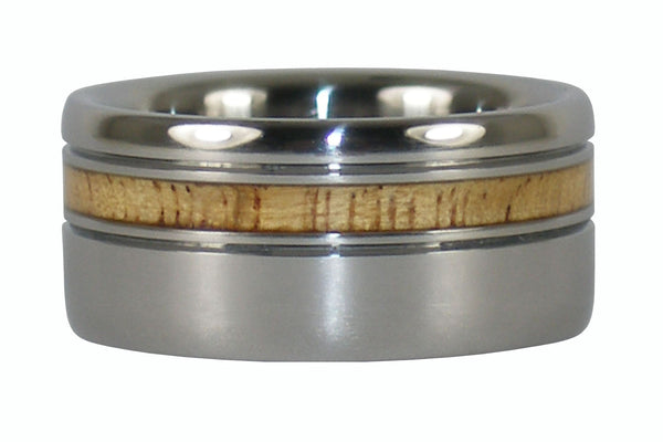 Mango Wood Titanium Ring with Offset Inlay