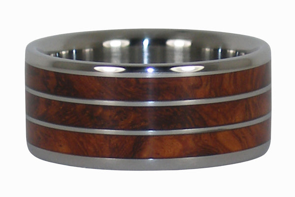 Triple Amboyna Wood Titanium Ring
