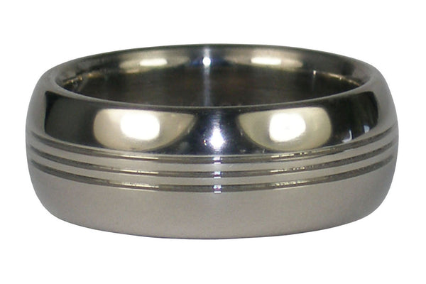 Titanium Ring Band with Three Channels
