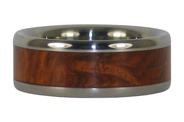 Titanium Ring Band with Amboyna Wood