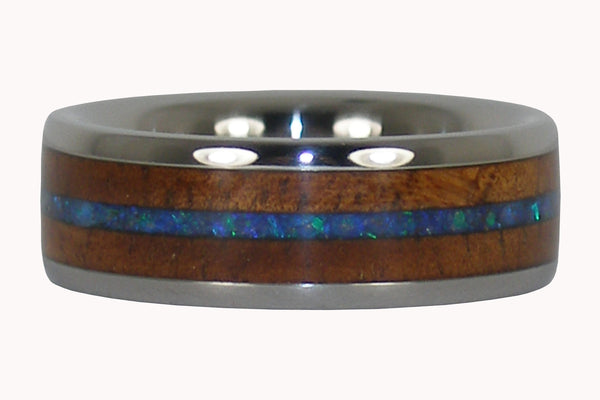 Opal and Koa Titanium Ring Band