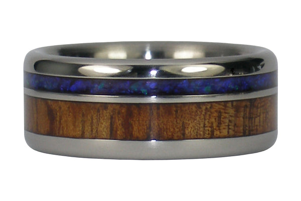 Black Opal and Koa Wood Titanium Ring