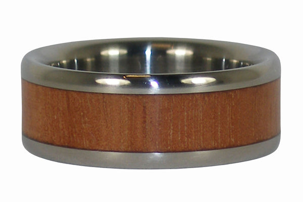 Mahogany Wood Titanium Ring