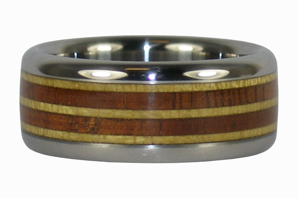 Pau Amarello and Koa Wood Titanium Ring