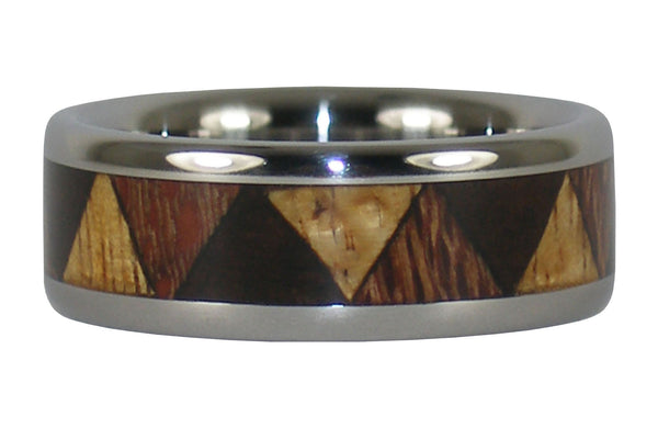 Tribal Hawaiian Wood Titanium Ring