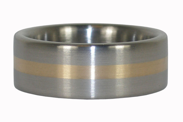 14k Gold Inlay Titanium Ring Band