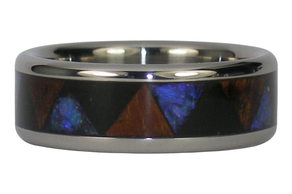 Black Opal and Wood Titanium Ring with Hawaiian Koa