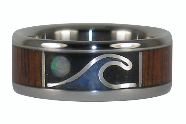Opal Wave and Moon Titanium Wood Ring
