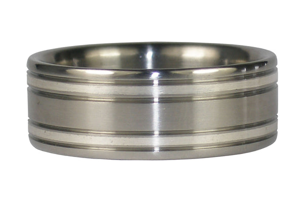 Silver Inlay Titanium Ring Band