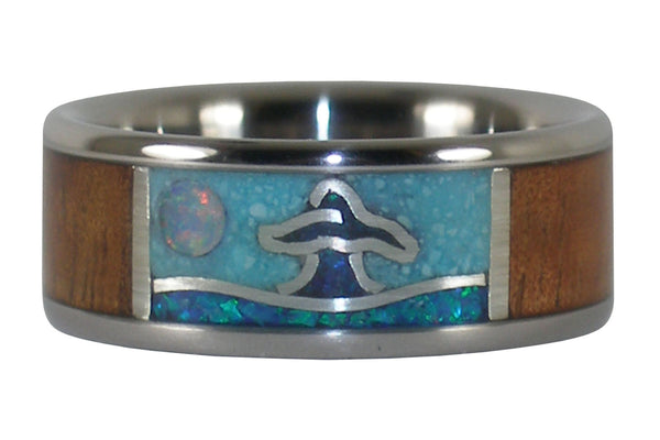 Whales Tail Titanium Ring with Wood and Stone