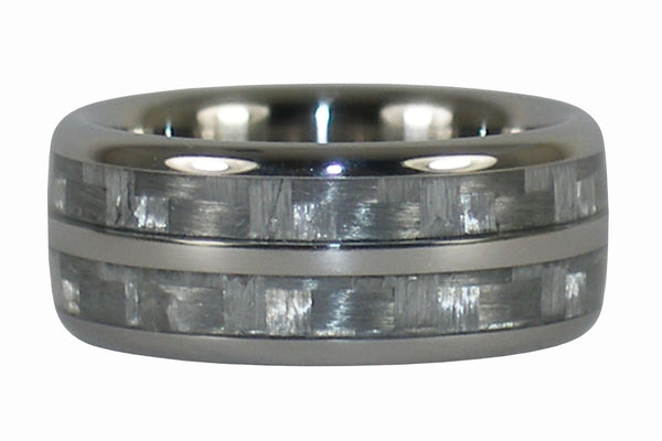 White Carbon Fiber Titanium Double Ring Band