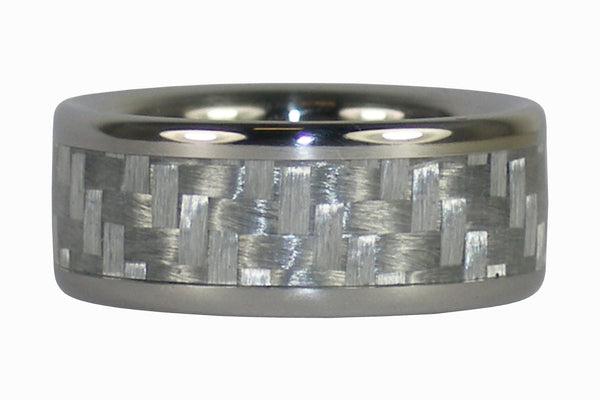 White Carbon Fiber Titanium Wedding Ring
