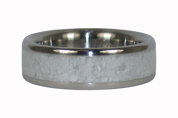 White Coral Titanium Ring Band