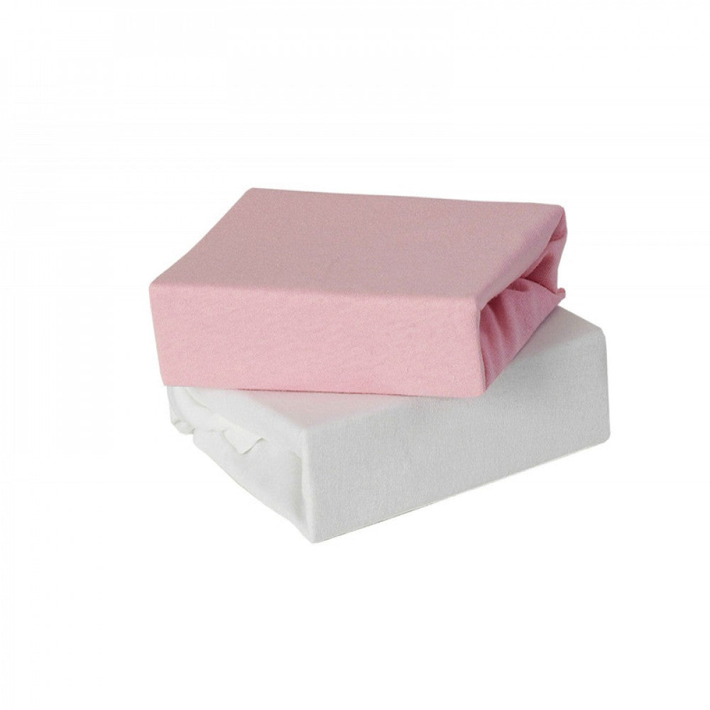 Babyelegance- 2pk Jersey Cot Bed Fitted Sheet Pink