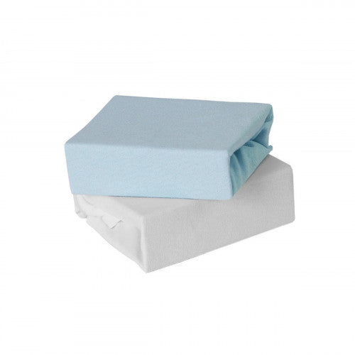 Babyelegance- 2pk Jersey Cot Bed Fitted Sheet Blue