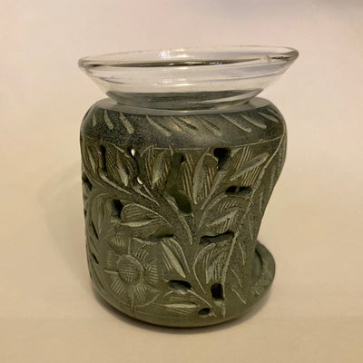 Carved Soapstone Aroma Lamp with Glass Dish