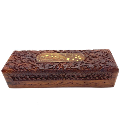 Hand Carved Wood Box 9x3