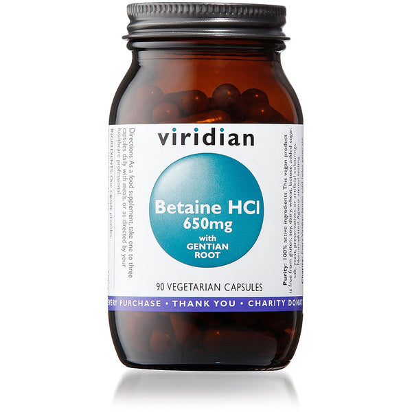 Viridian Betaine HCl 650mg with Gentian Root 90 Veg Capsules - dolanschemist.ie