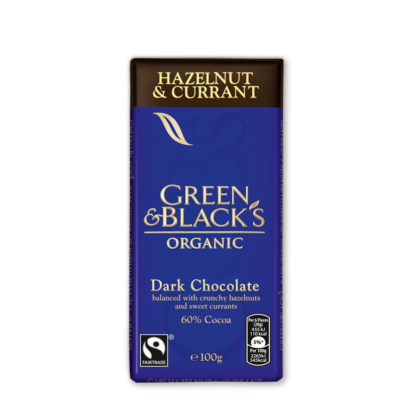 Green & Black's Organic Dark Chocolate 60% Hazelnut & Currant