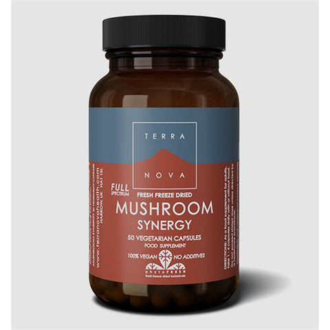TERRA NOVA MUSHROOM Synergy Fresh Freeze Dried-Organic) 50 Capsules - dolanschemist.ie