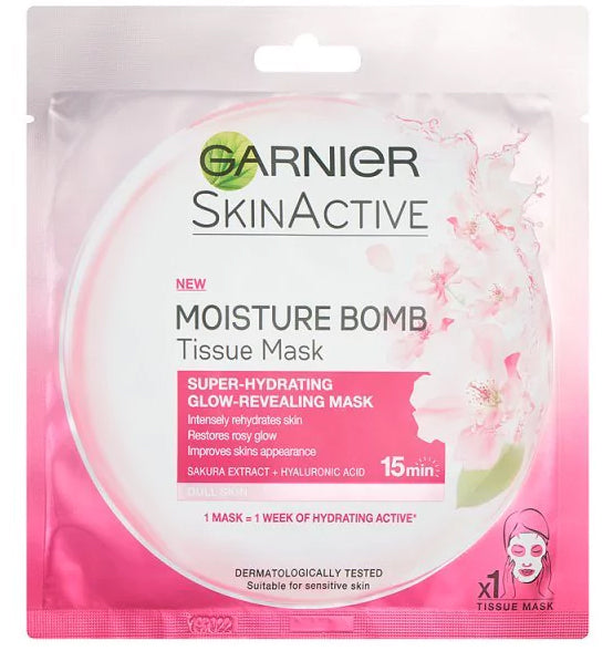 Garnier Moisture Bomb Tissue Mask Super Hydrating+Glow Reviving