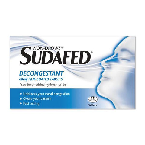 Sudafed Decongestant 60mg Film-Coated Tablets 12 Pack - dolanschemist.ie