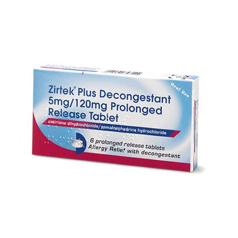 Zirtek Plus Decongestant Prolonged Release Tablet 6 Pack - dolanschemist.ie