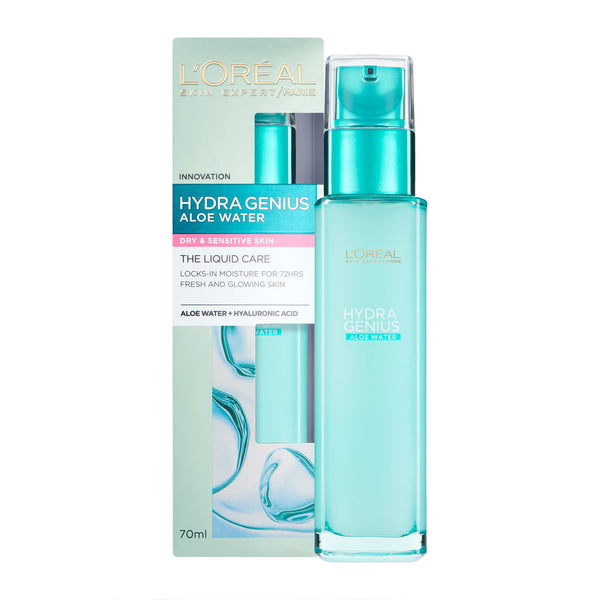 Loreal Hydra Genius Aloe Water Liquid Moisturiser- Dry & Sensitive Skin 70ml - dolanschemist.ie