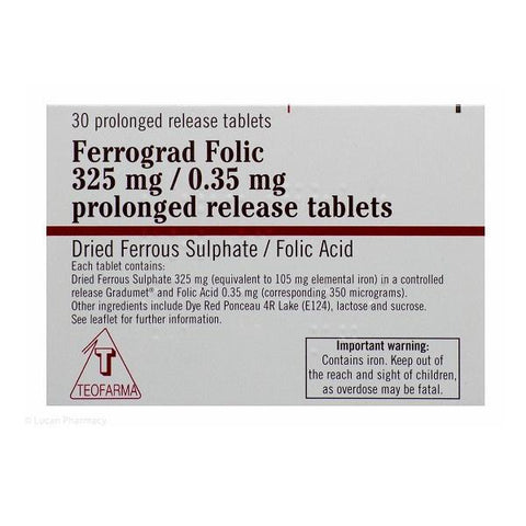 Ferrograd Folic 325mg Prolonged Release Tablets 30 Pack - dolanschemist.ie