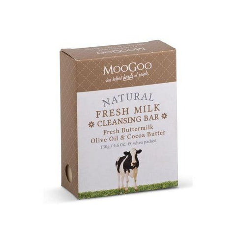 MooGoo Natural Fresh Milk Cleansing Bar - Fresh Buttermilk, Olive Oil & Cocoa Butter - dolanschemist.ie