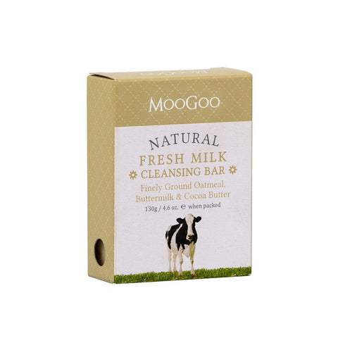 MooGoo Natural Fresh Milk Cleansing Bar - Finely Ground Oatmeal, Buttermilk & Cocoa Butter - dolanschemist.ie