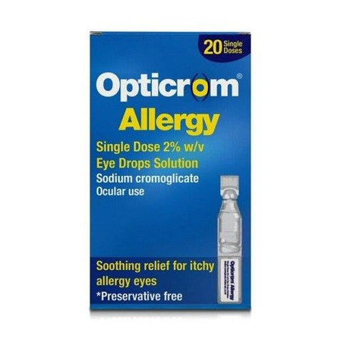 Opticrom Allergy Single Dose 2% Eye Drops 20 Pack - dolanschemist.ie