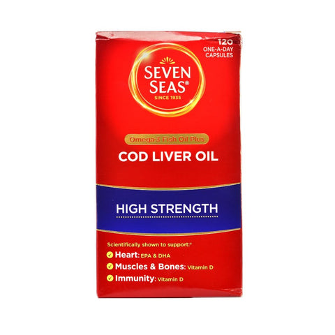 Seven Seas Omega-3 Fish Oil Plus Cod Liver Oil High Strength 60 Capsules - dolanschemist.ie