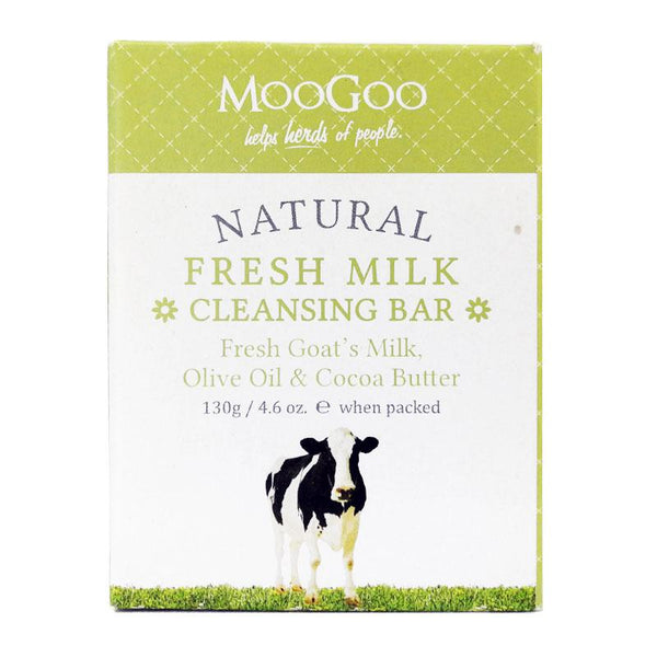 MooGoo Natural Fresh Milk Cleansing Bar - Fresh Goat's Milk, Olive Oil & Cocoa Butter