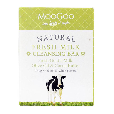 MooGoo Natural Fresh Milk Cleansing Bar - Fresh Goat's Milk, Olive Oil & Cocoa Butter - dolanschemist.ie