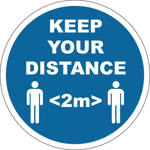 Social Distancing Floor Sign 400mm - Keep Your Distance (25 Pack)
