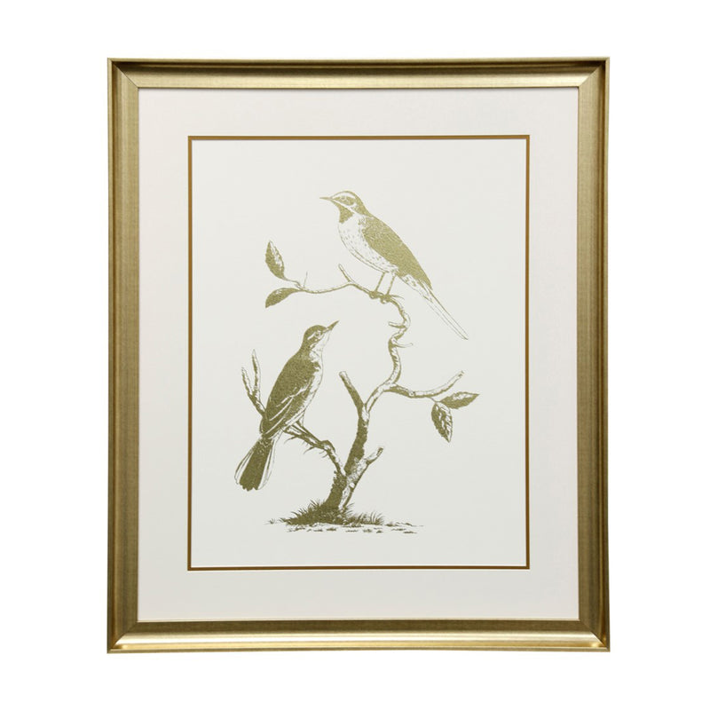 Wall Decor Gold Foil Birds II WM12581