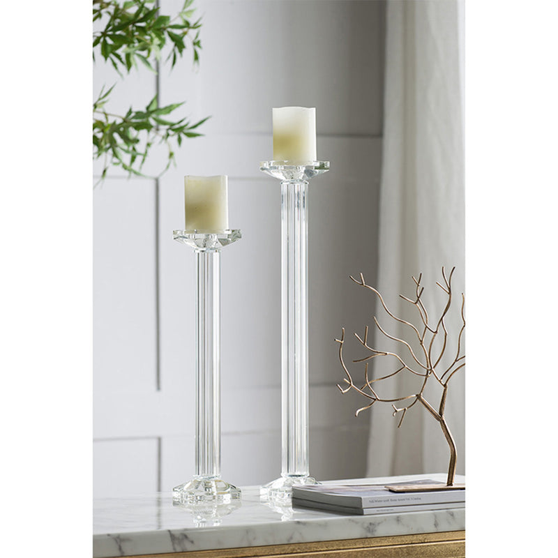 Crystal Glass Pillar Column Candle Holder Candle - AB Home