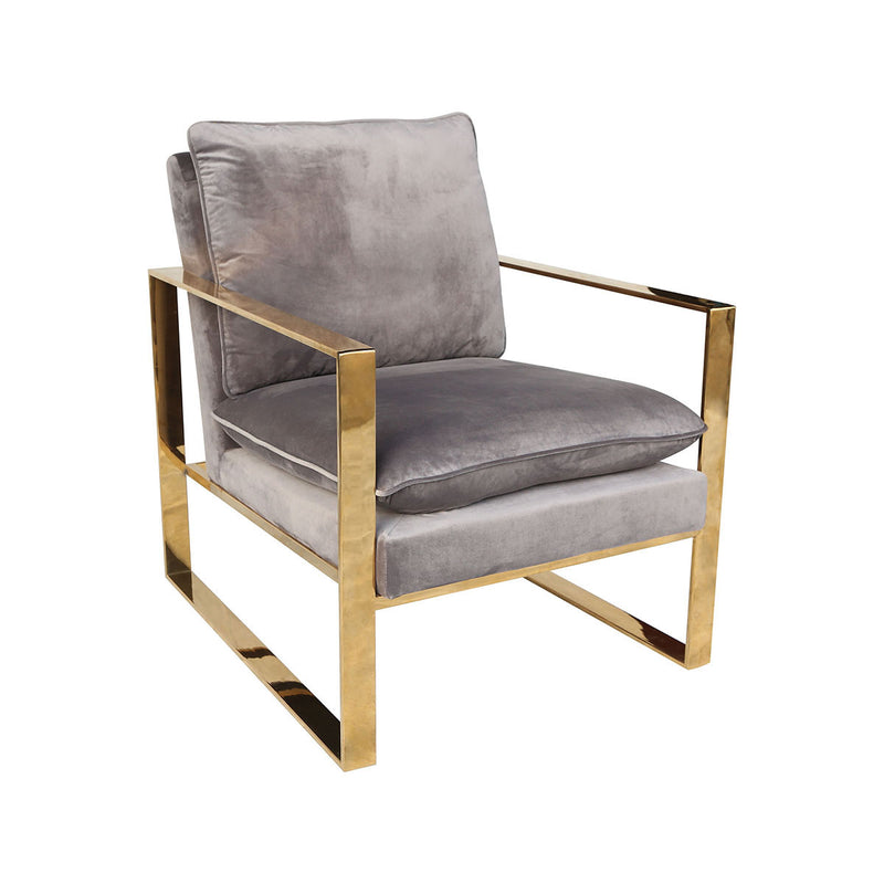 Chair - Old Sport Gold Plated Stainless Steel, Foam, And Grey Velvet