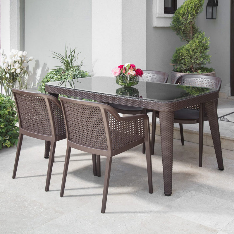 Osaka Outglass Dining Outdoor Table Wenge