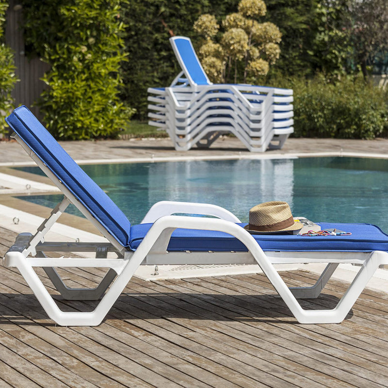Maris Sunbed White & Blue with Cushion - Nabco