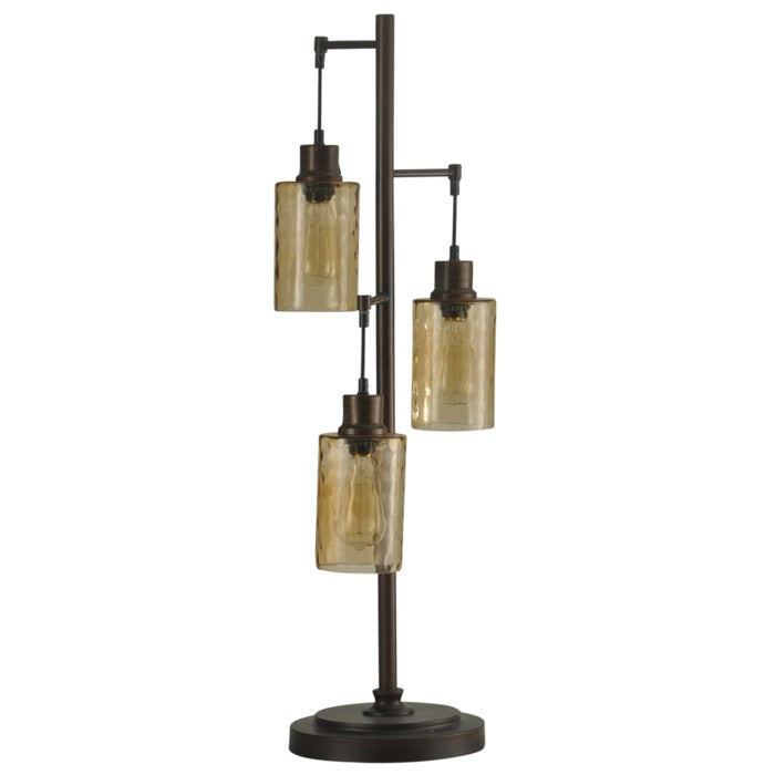 Table Lamp Bronze with Champagne Pendant