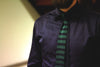 Navy Green Thick Stripe Neck Tie
