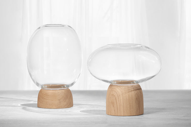 Porcini Vase Oak/Clear Glass, h. 22 cm